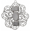 Filigree Pendant Setting 50mm Flower Imitation Rhodium